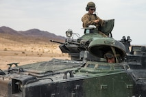 U.S. Marines with 2nd Amphibian Assault Battalion, Marine Air-Ground Task Force-8 (MAGTF), prepare to conduct a dry run prior to a live fire range during Integrated Training Exercise 5-17 (ITX) at Lead Mountain, Marine Corps Air Ground Combat Center Twentynine Palms, Calif., July 18, 2017. The purpose of ITX is to create a challenging, realistic training environment that produces combat-ready forces capable of operating as an integrated MAGTF. (U.S. Marine Corps photo by Cpl. Christopher A. Mendoza)
