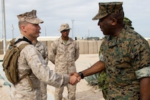 Sergeant Major of the Marine Corps Sgt. Maj. Ronald L. Green greets U.S. Marines with Marine Air Ground Task Force (MAGTF) 8 during his visit to Integrated Training Exercise (ITX) 5-17 at Marine Corps Air Ground Combat Center, Twentynine Palms, Calif., July 19, 2017. Green met with senior leadership of MAGTF-8 to impart his guidance and leadership philosophy. (U.S. Marine Corps Photo by Sgt. Kassie L. McDole)