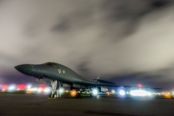 A U.S. Air Force B-1B Lancer assigned to the 9th Expeditionary Bomb Squadron, deployed from Dyess Air Force Base, Texas, sits on the runway at Anderson Air Force Base, Guam July 18, 2017. The Lancer departed Guam to conduct bilateral training missions with Royal Australian Air Force Joint Terminal Attack Controllers (JTACs) for Talisman Saber 17. The flights were also flown as part of U.S. Pacific Command's Continuous Bomber Presence mission in order to enhance combined interoperability with Australian counterparts. (U.S. Air Force photo by Airman 1st Class Christopher Quail)
