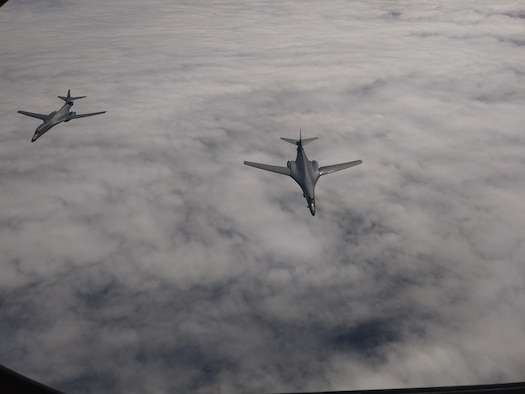 U.S. Air Force B-1B Lancers assigned to the 9th Expeditionary Bomb Squadron, deployed from Dyess Air Force Base, Tx., fly over Shoalwater Field Training Area, Australia July 20, 2017. The lancers conducted bilateral training mission with Royal Australian Air Force Joint Terminal Attack Controllers (JTACs), July 18 as part of Talisman Saber 17 a training exercise designed to maximize combined training opportunities and conduct maritime preposition and logistics operations in the Pacific. (U.S. Air Force photo)