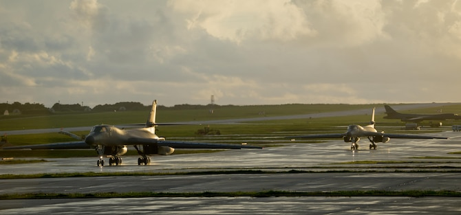 U.S. Air Force B-1B Lancers assigned to the 9th Expeditionary Bomb Squadron, deployed from Dyess Air Force Base, Tx., taxi down a flightline July 20, 2017, at Andersen Air Force Base, Guam. The lancers conducted bilateral training mission with Royal Australian Air Force Joint Terminal Attack Controllers (JTACs), July 20 as part of Talisman Saber 17 a training exercise designed to maximize combined training opportunities and conduct maritime preposition and logistics operations in the Pacific. (U.S. Air Force photo by Staff Sgt. Joshua Smoot)