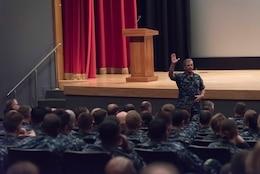 YOKOSUKA, Japan (July 21, 2017) Rear Adm. Richard Brown, commander, Navy Personnel Command, speaks during the forward-deployed naval forces manning summit khaki call, hosted by commander, U.S. 7th Fleet, held at Fleet Activities Yokosuka, Japan.