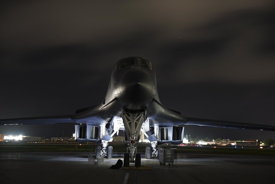 A U.S. Air Force B-1B Lancer aircraft assigned to the 9th Expeditionary Bomb Squadron, deployed from Dyess Air Force Base, Texas, prepares to takeoff from Andersen Air Force Base, Guam, July 20, 2017. The lancers conducted bilateral training mission with Royal Australian Air Force Joint Terminal Attack Controllers (JTACs), July 20 as part of Talisman Saber 17 a training exercise designed to maximize combined training opportunities and conduct maritime preposition and logistics operations in the Pacific. (U.S. Air Force photo/Tech. Sgt. Richard P. Ebensberger)