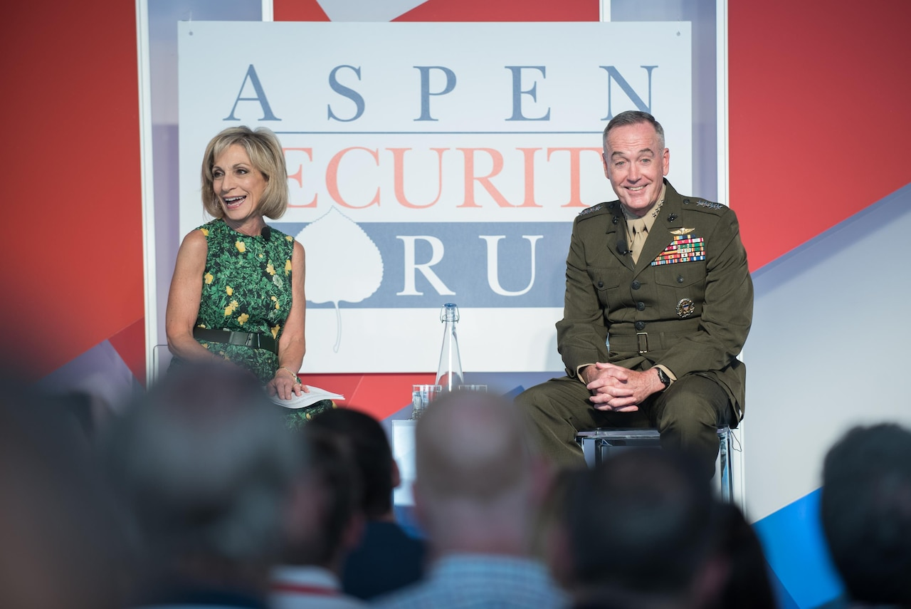 Marine Corps Gen. Joe Dunford, chairman of the Joint Chiefs of Staff, answers a question during a discussion moderated by Andrea Mitchell, chief foreign affairs correspondent for NBC News, at the 2017 Aspen Security Forum in Aspen, Colo., July 22, 2017. DoD photo by Army Sgt. James K. McCann
