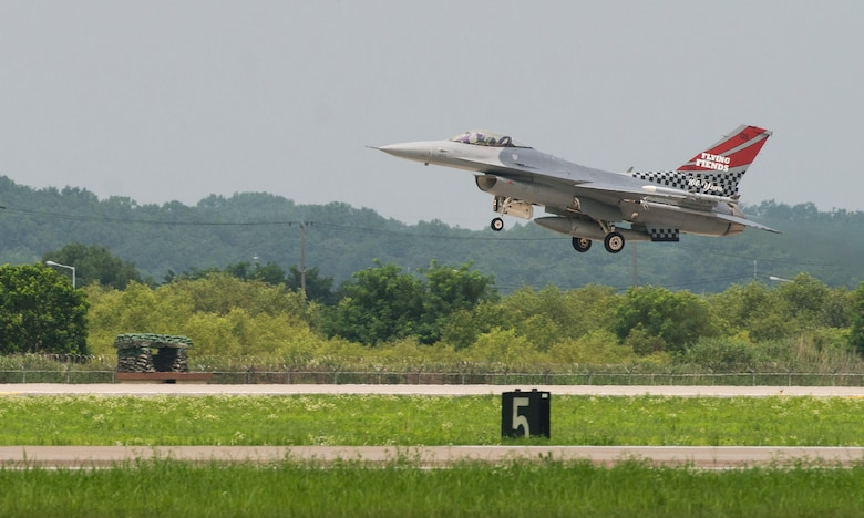 The 36th Fight Squadron Flying Fiends centennial F-16 Fighting Falcon takes off from Osan Air Base, Republic of Korea, July 19, 2017. U.S. Air Force Col. Andrew P. Hansen, 51st Fighter Wing commander, flew the freshly painted jet for the first time during his final flight at Osan. (U.S. Air Force photo by Staff Sgt. Alex Fox Echols III)