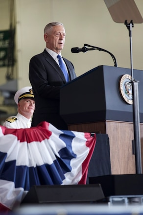 Defense Secretary Jim Mattis delivers remarks during the commissioning ceremony for the aircraft carrier USS Gerald R. Ford at Naval Station Norfolk, Va., July 22, 2017. Navy photo by Petty Officer 3rd Class Gitte Schirrmacher