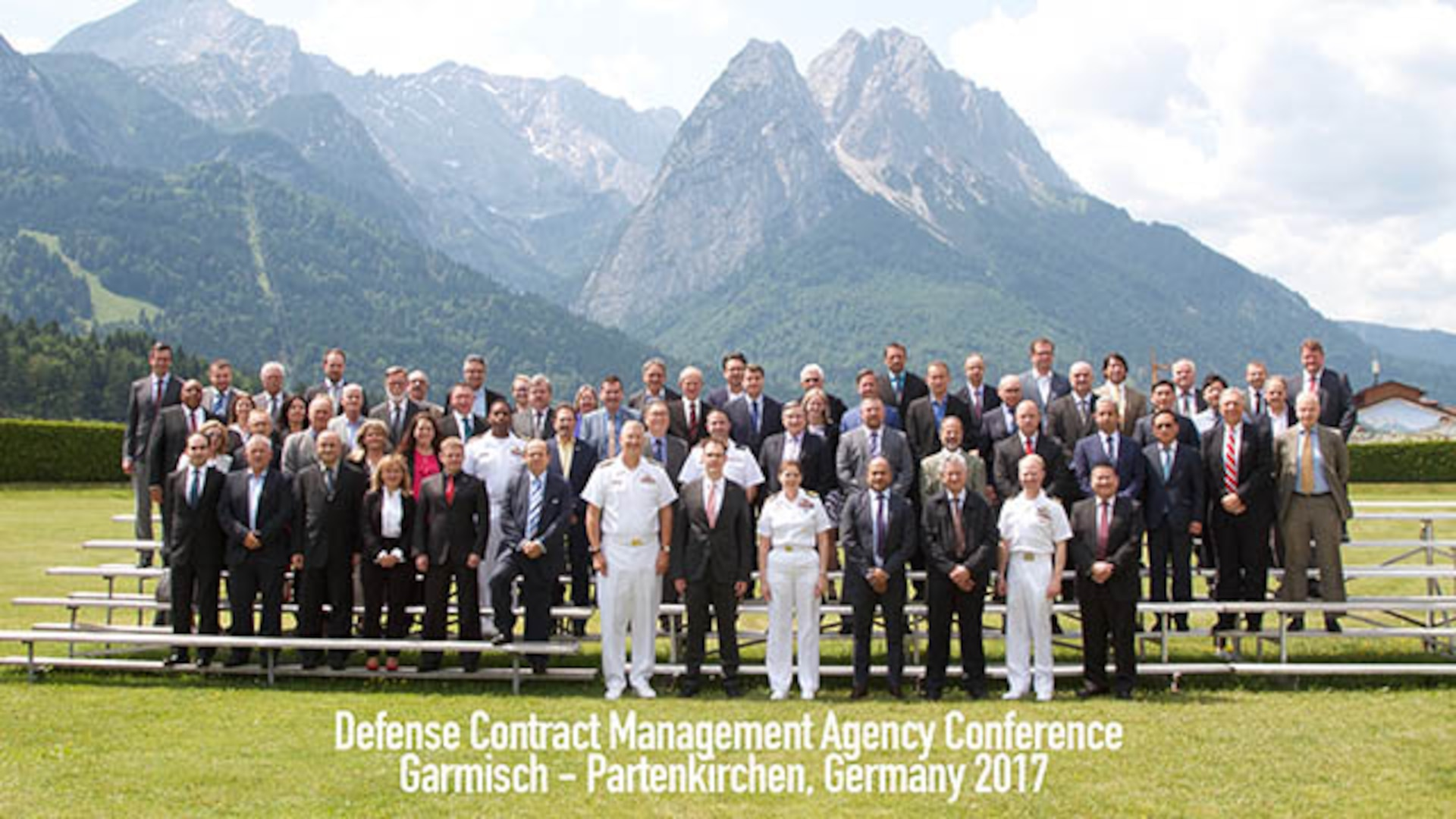 Navy Vice Adm. David Lewis (front row far left), Defense Contract Management Agency director, joined members of the agency's International Directorate and partner-nation officials at the DCMA's 16th Host Nation Conference. The conference provides a forum to discuss quality assurance and contract auditing. (Photo courtesy Edelweiss Lodge and Resort)