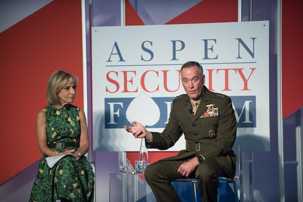 U.S. Marine Corps Gen. Joseph F. Dunford, Jr., chairman of the Joint Chiefs of Staff, responds to a question alongside moderator Andrea Mitchell, NBC News Chief Foreign Affairs Correspondent, at the 2017 Aspen Security Forum in Colo., July 22, 2017. Gen. Dunford explained U.S. strategy and how it would be carried out in the years ahead.