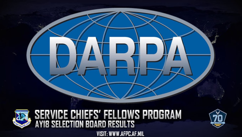 The Air Force confirmed eight active-duty officers chosen by the Defense Advanced Research Projects Agency Service Chiefs' Fellows selection board. Air Force participants contribute a vital perspective on Air Force missions, operations, culture and customs, and in turn, learn from the DARPA program managers and senior leadership. (U.S. Air Force graphic by Staff Sgt. Alexx Pons)