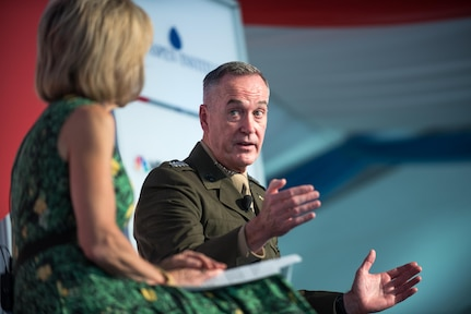 U.S. Marine Corps Gen. Joseph F. Dunford, Jr., chairman of the Joint Chiefs of Staff, speaks alongside moderator Andrea Mitchell, NBC News Chief Foreign Affairs Correspondent, at the 2017 Aspen Security Forum in Colo., July 22, 2017. Gen. Dunford explained U.S. strategy and how it would be carried out in the years ahead.
