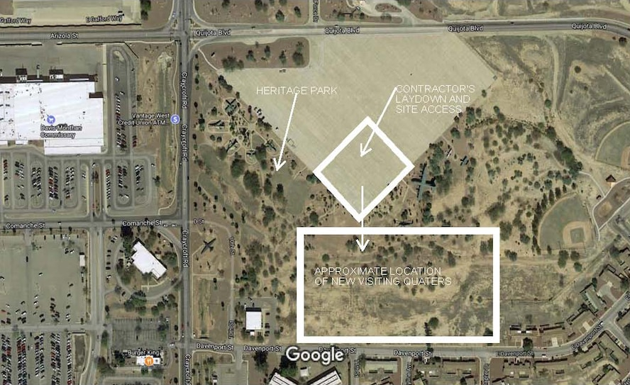 A graphic illustrates the location of construction of a new visiting quarters facility at Davis-Monthan Air Force Base, Ariz. The Heritage Inn visiting quarters, estimated to cost approximately $44 million, will provide Airmen and government civilian employees a contemporary lodging experience. (Courtesy graphic)
