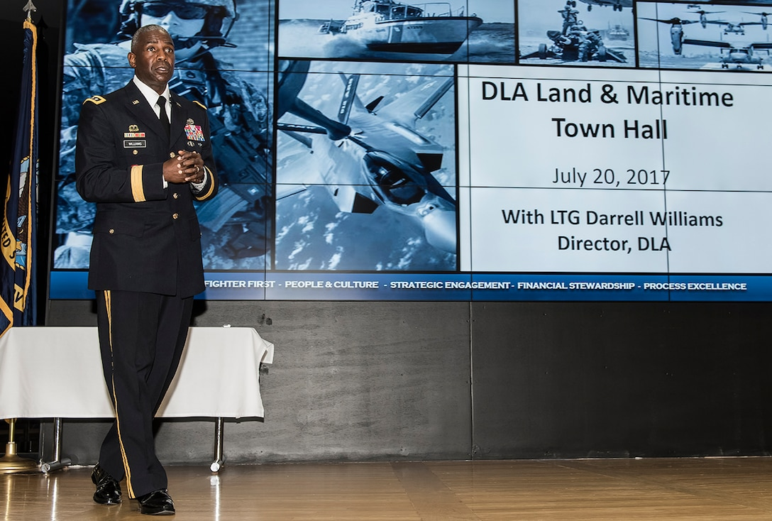 Defense Logistics Agency Director Army Lt. Gen. Darrell Williams addresses the audience at DLA Land and Maritime July 20 during his first Town Hall at the Columbus installation since becoming director of the agency. Williams previously served as Land and Maritime Commander from September 2010 to July 2012.