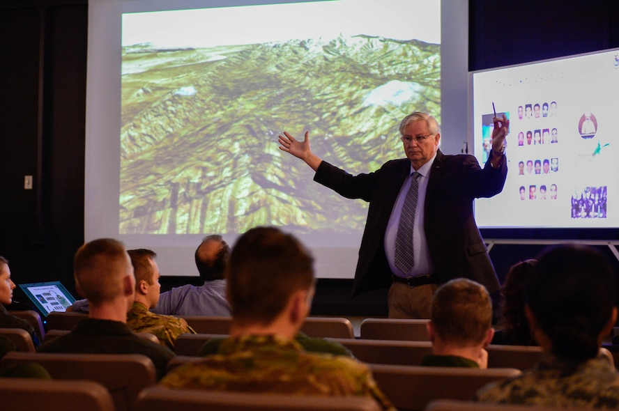 Ret. Air Force Col. Dan Jordan, speaks to Airmen attending a virtual staff ride at Cannon Air Force Base, New Mexico, July 12, 2017, in the 16th Special Operations Squadron auditorium.  The event was a form of professional development partially used to better understand previously used military tactics and strategies. (U.S. Air Force Photo by Staff Sgt. Charles Dickens/Released)