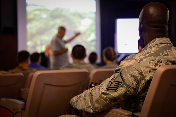 Airmen from Cannon Air Force Base, New Mexico, participate in a virtual staff ride July 12 and 13, 2017, at the 16th Special Operations Squadron auditorium.  The event was a form of professional development partially used to better understand previously used military tactics and strategies. (U.S. Air Force Photo by Staff Sgt. Charles Dickens/Released)