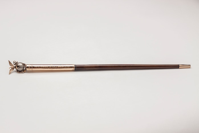 Baton given to John Philip Sousa by the members of the Marine Band upon his retirement in 1892. The baton has become a symbol of the Marine Band Directorate and has been traditionally passed from Director to Director in every Change of Command ceremony.