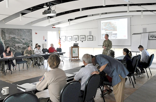Los Angeles District Commander Col. Kirk Gibbs welcomes USACE Command Week attendees to the Tijuana River National Estuarine Research Reserve at the initial stop during a tour of Corps-related projects and national security infrastructure.