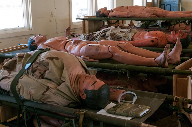 Mannequins lay on gurnies at Camp Roberts, California, before being prepared by the Effects and Enablers Team, which is augmenting the 84th Training Command's Combat Support Training Exercise and the Army Medical Command's Global Medic Exercise headquartered out of Fort Hunter Liggett, California, July 16, 2017.