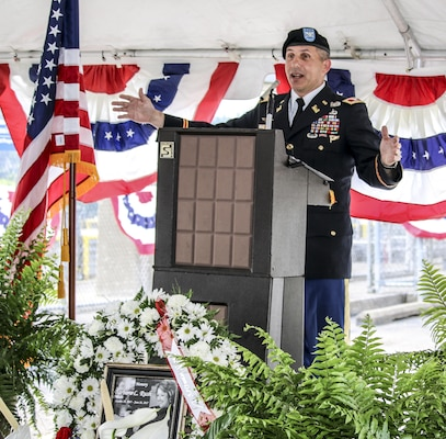 Col. John Lloyd, commander U.S. Army Corps of Engineers Pittsburgh, addressed   more than 150 community members at the visitor center reopening ceremony at the Hannibal Lock and Dam on the Ohio River.