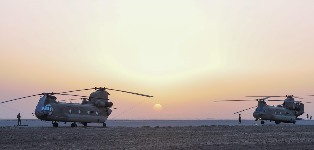 ERBIL, Iraq - CH-47 Chinook helicopters from the B Company, 2-149th General Support Aviation Battalion, Task Force Saber, undergo maintenance and inspections at Erbil, Iraq, July 10, 2017. The CH-47 Chinook provides a vital lift capability to Task Force Saber which increases the capability and mobility of Combined Joint Task Force – Operation Inherent Resolve. CJTF-OIR is the Coalition to defeat ISIS in Iraq and Syria. (U.S. Army photo by Capt. Stephen James)