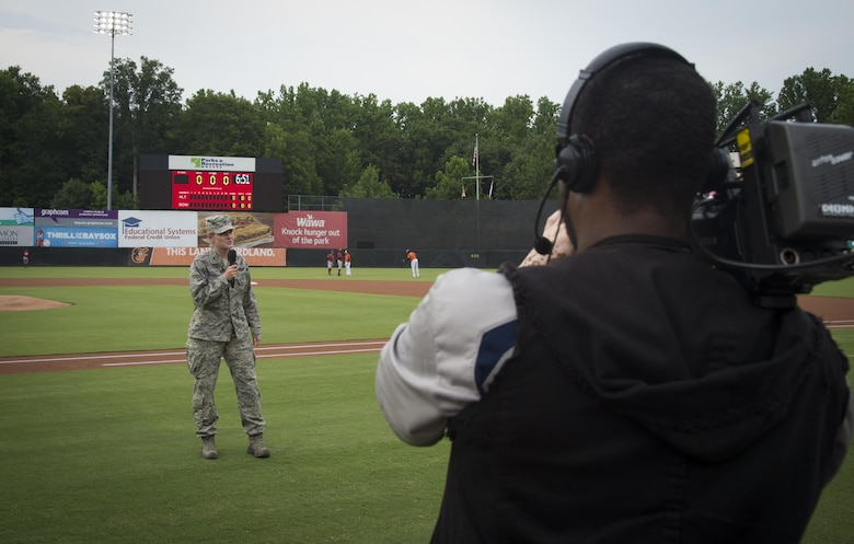 Col. Jocelyn Schermerhorn, Joint Base Andrews and 11th Wing vice commander, speaks during Joint Base Andrews Military Appreciation Night hosted by the Bowie Baysox at Prince George's Stadium, in Bowie, Md., July 21, 2017. Several military members participated in opening ceremonies including the presenting of the colors, singing the national anthem, and throwing out the ceremonial first pitch. (U.S. Air Force photo by Senior Airman Mariah Haddenham)