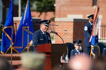 Lt. Gen. Giovanni Tuck, 18th Air Force commander, speaks during the 375th Air Mobility Wing change of command ceremony July 24, 2017, at Scott Air Force Base, Ill. The ceremony saw command of the wing transfer from Col. Laura Lenderman to Col. John Howard. (U.S. Air Force photo by Staff Sgt. Clayton Lenhardt)