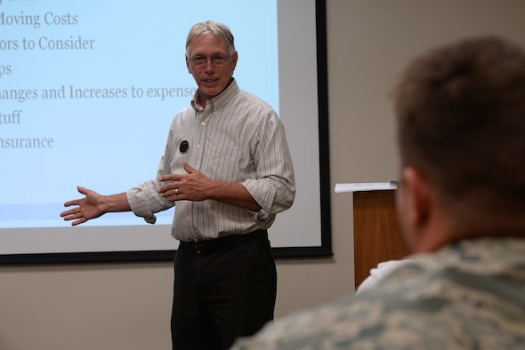 Richard Tomaskovic, 19th Force Support Squadron community readiness consultant, teaches the Living on Your Own Dime class July 19, 2017, at Little Rock Air Force Base, Ark. Airmen are required to take the class to move out of the dorms on base.