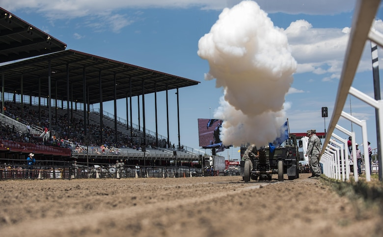 Conventional ammunition Airmen from the 90th Munitions Squadron operate a cannon during Military Monday at Frontier Park in Cheyenne, Wyo., July 24, 2017. The 90th MUNS operates its cannon during special events on the base and in the local community. This year marks the 150th anniversary of F.E. Warren Air Force Base and the city of Cheyenne. The two communities came together to celebrate during the 121st Cheyenne Frontier Days rodeo and festival. (U.S. Air Force photo by Staff Sgt. Christopher Ruano)