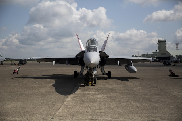 An U.S. Marine Corps F/A-18C Hornet with Marine Fighter Attack Squadron (VMFA) 232 sits ready to depart Japan Air Self-Defense Force (JASDF) Hyakuri Air Base, and return to Marine Corps Air Station (MCAS) Iwakuni, Japan, July 24, 2017. VMFA-232 conducted exercises with the JASDF as part of the Aviation Training Relocation program, which is designed to increase operational readiness and interoperability between U.S. and Japanese forces, and to reduce the overall noise impact across Japan by dispersing bilateral jet-fighter training of U.S. forces across a multitude of different JASDF bases (U.S. Marine Corps photo by Lance Cpl. Mason Roy)