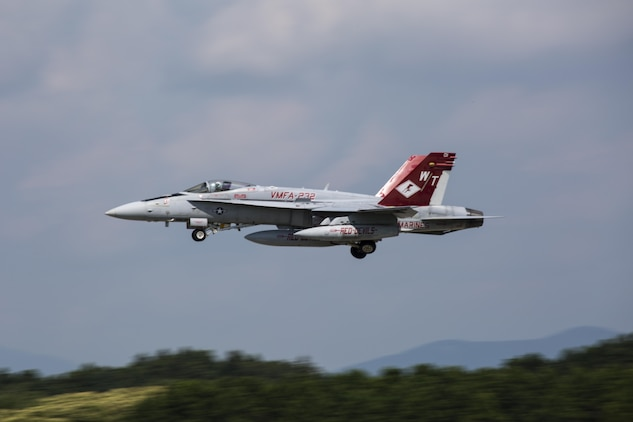 A U.S. Marine Corps F/A-18C Hornet with Marine Fighter Attack Squadron (VMFA) 232 takes off from Japan Air Self-Defense Force (JASDF) Hyakuri Air Base, Japan to return to Marine Corps Air Station (MCAS) Iwakuni July 24, 2017. This was the first time that VMFA-232 has been to JASDF Hyakuri Air Base, which gave the local Japanese forces the ability to simulate air-to-air maneuvers with dissimilar aircraft. (U.S. Marine Corps photo by Lance Cpl. Mason Roy)