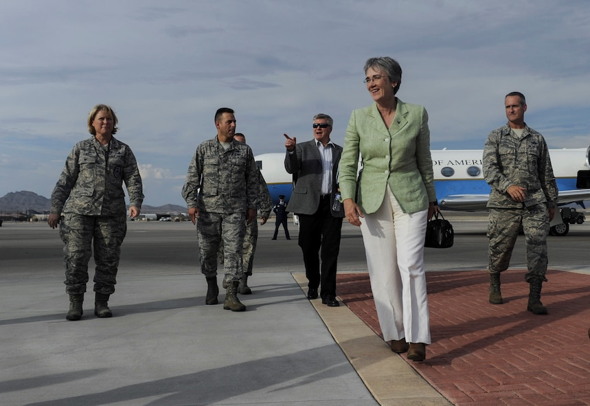 Air Force Secretary Heather Wilson arrives at Nellis Air Force Base, Nev., July 17, 2017. During her visit, Wilson saw firsthand how Nellis is at the forefront of modernization. (U.S. Air Force photo by Senior Airman Kevin Tanenbaum)