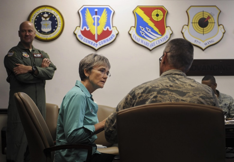 Air Force Secretary Heather Wilson speaks with Maj. Gen. Peter Gersten, United States Air Force Warfare Center commander, during a break at the USAFWC at Nellis Air Force Base, Nevada, July 18, 2017. Wilson saw firsthand how Nellis is at the forefront of modernization. (U.S. Air Force photo by Senior Airman Kevin Tanenbaum)