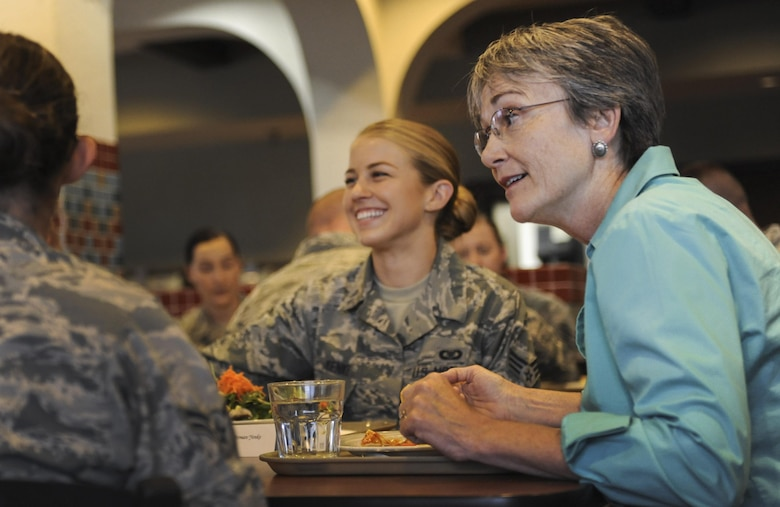 Heather Wilson, secretary of the Air Force, listens to Airmen's stories during a lunch at the Crosswinds Dining Facility at Nellis Air Force Base, Nevada, July 18, 2017. Wilson spent her lunch speaking with as many Airmen as she could to get a sense of the type of issues affecting them most. (U.S. Air Force photo by Senior Airman Kevin Tanenbaum)