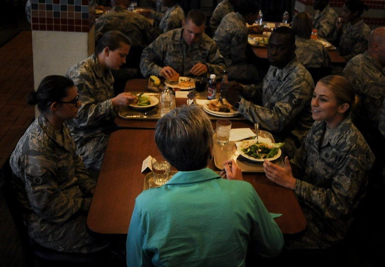 Secretary of the Air Force Heather Wilson shares a lunch with Airmen at the Crosswinds Dining Facility at Nellis Air Force Base, Nevada, July 18, 2017. Wilson visited Nellis and Creech Air Force bases July 17 to 21 and learned more about their operational experiences. (U.S. Air Force photo by Senior Airman Kevin Tanenbaum)