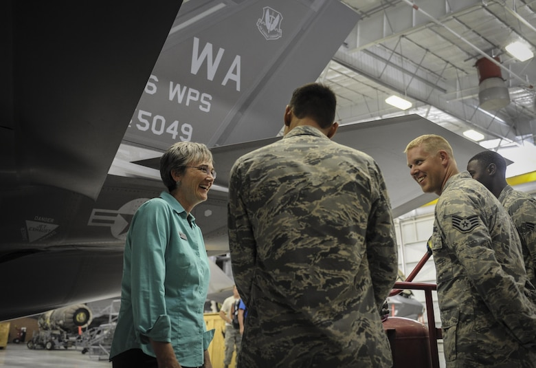 Heather Wilson, secretary of the Air Force, receives a tour of the F-35 Lighting II fighter jet inside the Lighting Aircraft Maintenance Unit hangar by 57th Maintenance Group Airmen on Nellis Air Force Base, Nevada, July 18, 2017. During the tour Wilson reiterated the importance of readiness, modernization and innovation in order to remain the greatest Air Force in the world. (U.S. Air Force photo by Senior Airman Kevin Tanenbaum)