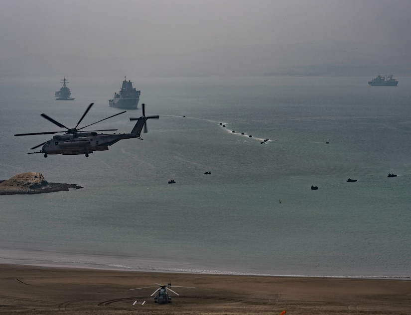 Ships and aircraft representing 19 nations participating in multinational exercise Unitas 2017 conduct joint amphibious landing demonstration, Salinas, Peru, July 22, 2017 (U.S. Navy/Bill Dodge)