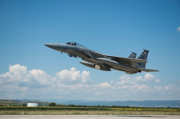 An F-15C Eagle fighter aircraft from the 159th Expeditionary Fighter Squadron takes off from Campia Turzii, Romania, July 18, 2017. The squadron is in Romania in support of Operation Atlantic Resolve, an ongoing operation meant to enhance the security of Europe and bolster partnership between NATO allies. (U.S. Air Force photo by Tech. Sgt. Chad Warren)