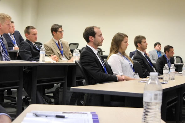 Selected Science, Mathematics and Research for Transformation (SMART) scholars attend the first annual Smart Scholar Symposium July 18-19, 2017. The symposium's goal is to recruit and retain students of the SMART Scholar program. (U.S. Air Force photo/Stacey Geiger)