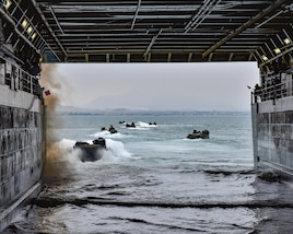 PACIFIC OCEAN - (Jul. 23, 2017)  -- U.S. Marine Corps Assault Amphibious Vehicles (AAV/P7-A1) depart the amphibious transport dock ship USS Somerset (LPD 25) in support of UNITAS LVIII. UNITAS is an annual, multi-national exercise that focuses on strengthening our existing regional partnerships and encourages establishing new relationships through the exchange of maritime mission-focused knowledge and expertise during multinational training operations.  (U.S. Navy Photo by Mass Communication Specialist 2nd Class Jacob I. Allison/RELEASED)