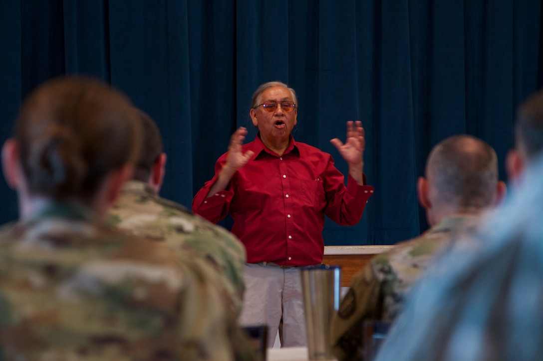 Albert Foote Sr., an elder Native American from Poplar, Montana, was invited to give a cultural briefing by the Fort Peck Indian Health Service to welcome Soldiers of the 7239th Medical Support Unit, Chattanooga, Tennessee, by explaining local residents' culture and traditions as they begin their Innovative Readiness Training at the Verne E. Gibbs Clinic at Poplar, July 17, 2017. The mission is a civil-military program that builds a mutually beneficial partnership between U.S. communities and the Department of Defense to meet training and readiness requirements for Active, Guard and Reserve service members while addressing public and civil society needs. (U.S. Army Reserve photo by Spc. Claudia Rocha 345th Public Affairs Detachment)