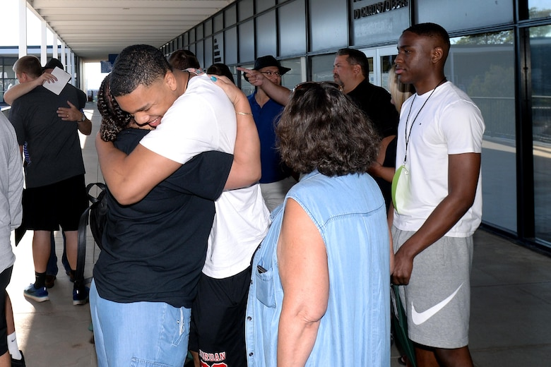 Parents and relatives said their goodbyes to their children before they reported to the U.S. Air Force Academy Preparatory School, July 19, 2017. (U.S. Air Force photo/Jason Gutierrez)