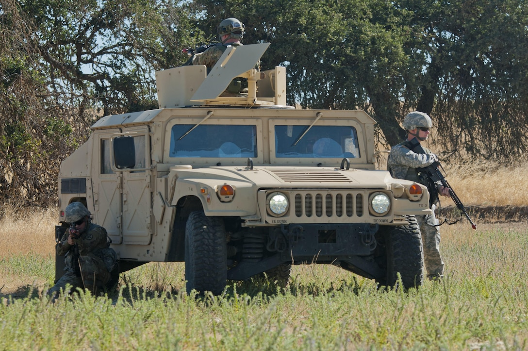 Army Reserve Soldiers from the 949th Transportation Detachment (Movement Control Team) out of Boise, Idaho, pull security during  Combat Support Training Exercise 91-17-03 at Camp Roberts, Calif., on July 20, 2017. Nearly 5,400 service members from the U.S. Army Reserve, U.S. Army, Army National Guard, U.S. Navy, and Canadian Armed Forces are training at Fort Hunter Liggett, Calif., as part of the 84th Training Command's CSTX 91-17-03 and ARMEDCOM's Global Medic; this is a unique training opportunity that allows U.S. Army Reserve units to train alongside their multi-component and joint partners as part of the America's Army Reserve evolution into the most lethal Federal Reserve force in the history of the nation. (U.S. Army Reserve photo by Sgt. Thomas Crough, 301st Public Affairs Detachment)