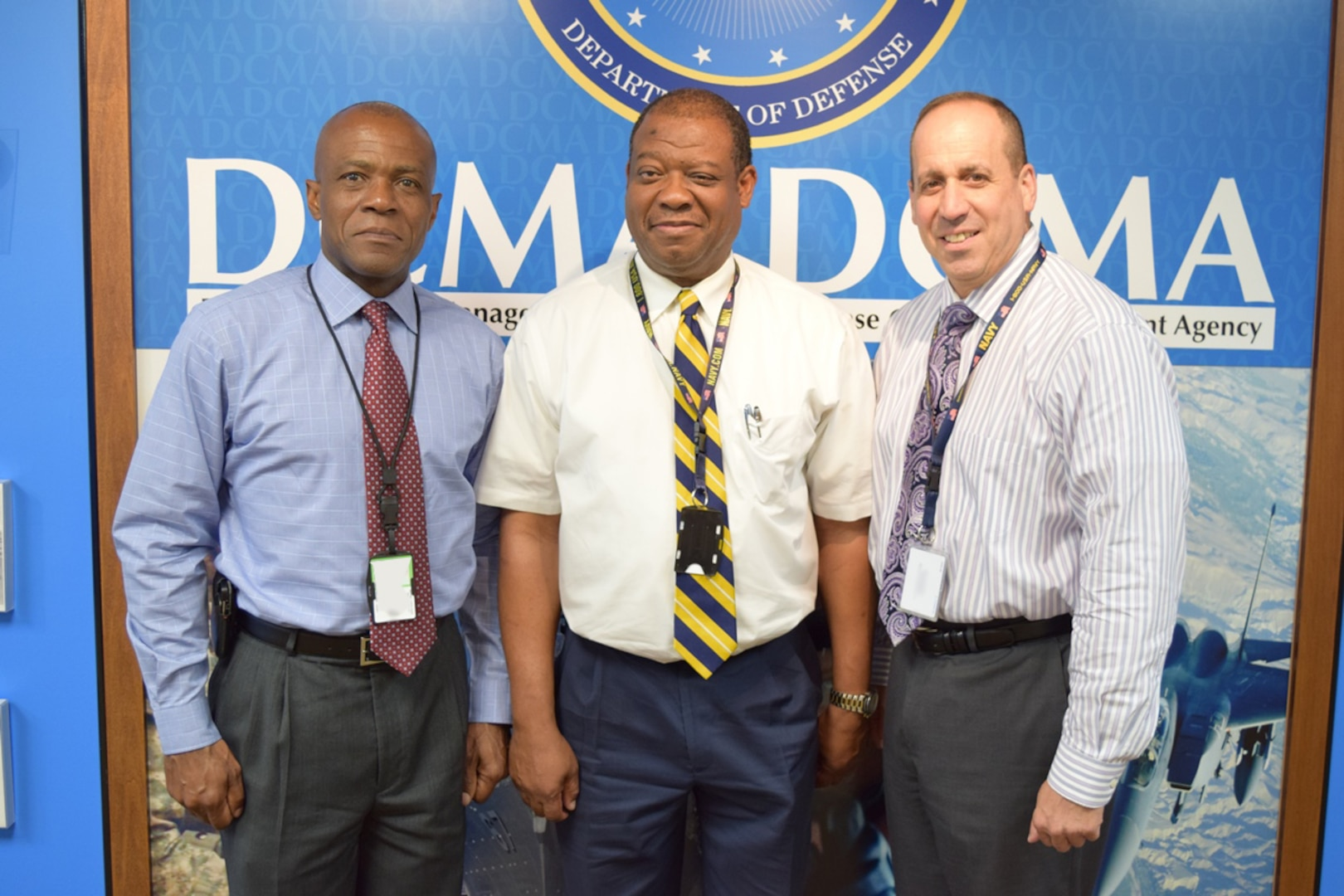 Defense Contract Management Agency Garden City Director Neil Mintz, right, appointed Joseph Cox (middle), Quality Assurance group leader, and Henry Stewart, Quality Assurance team leader, to develop a new leadership training program for supervisors at the contract management office. (DCMA photo by Justin Zaun)