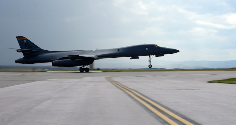A B-1 bomber with Maj. Gen. Ferdinand Stoss III, the Director of Operations and Communications for Air Force Global Strike Command, aboard thunders of the flightline at Ellsworth Air Force Base, S.D., July 12, 2017. During the flight, Stoss was shown a number of B-1 mission capabilities to include long-range strike, close-air support, dynamic targeting, and low level strike capabilities. (U.S. Air Force photo by Airman 1st Class Donald C. Knechtel)