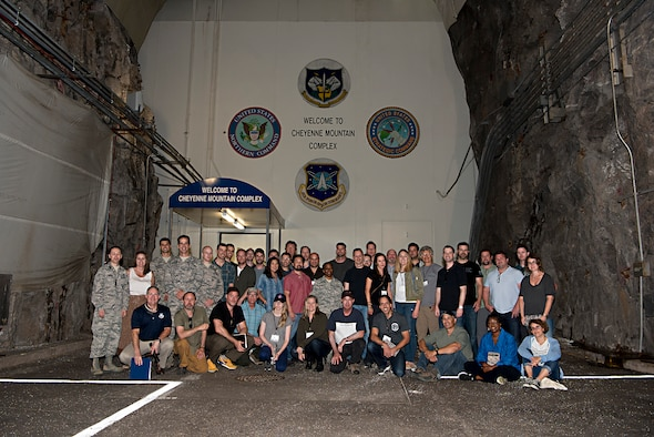 A group of Hollywood executives visit Cheyenne Mountain Air Force Station, Colo., for a tour of the complex, July 18, 2017. The tour was conducted as part of an outreach program to Hollywood screenwriters, producers and directors in an effort to give Hollywood an inside look into the Air Force space mission and ensure that any projects they produce can be represented accurately. (U.S. Air Force photo by Steve Kotecki)