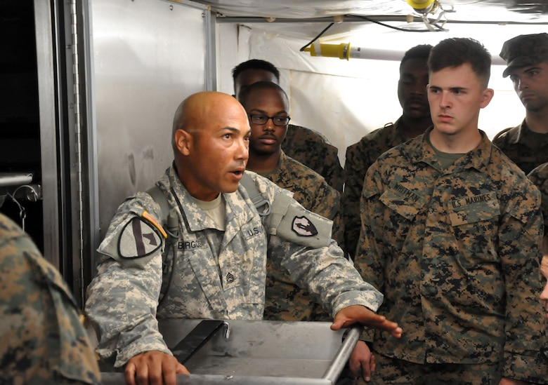 Sgt. 1st Class Luis Burgos, a mortuary affairs collection point NCOIC with the 311th Quartermaster Company out Ramey Base, Puerto Rico, shows a group of mortuary affairs Marines the refrigeration unit inside a Mobile Integrated Remains Collection System at Fort Pickett, Virginia, July 17, 2017. The Army Reserve Soldier is participating in the 2017 Joint Mortuary Affairs Exercise along with active Army Soldiers, the Air Force and Marines.