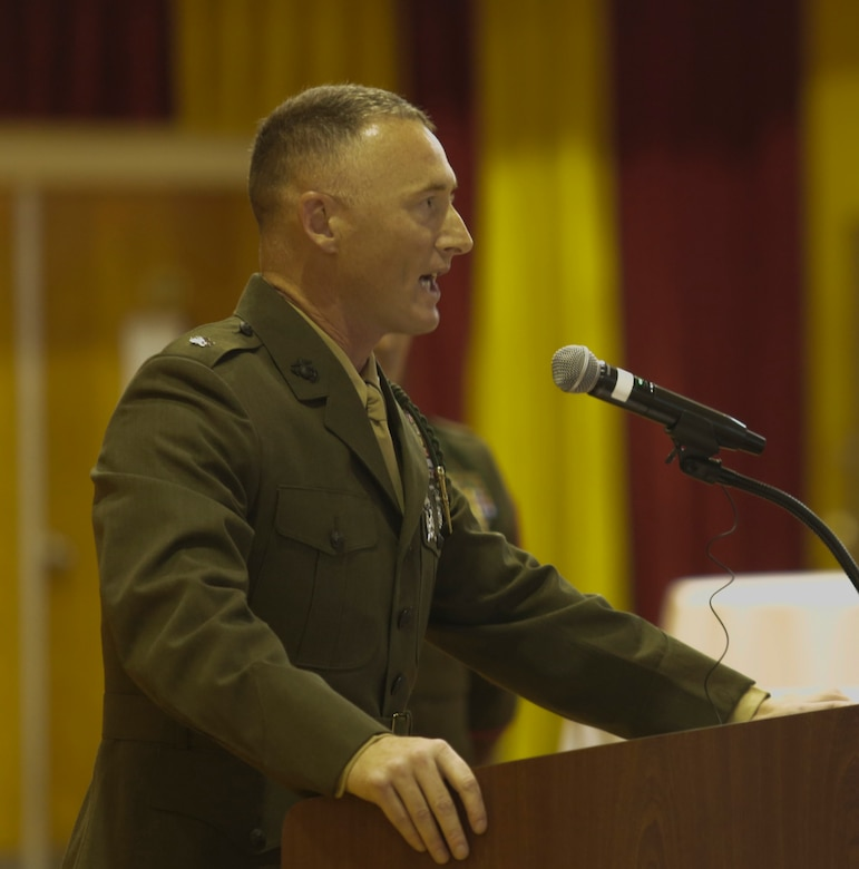 Lt. Col. Gregory P. Gordon, the commanding officer of 1st Battalion, 6th Marine Regiment delivers a speech for the Marines in celebration of the 100-year anniversary of their unit at Camp Lejeune, N.C., July 21, 2017. Marines celebrated the unit's 100-year anniversary with a rededication ceremony, dinner and a night of