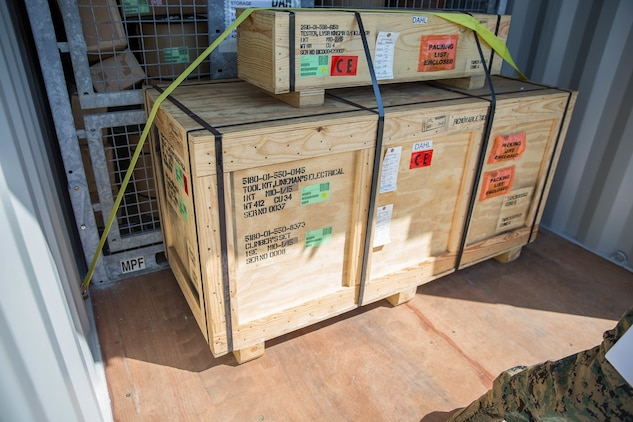 U.S. Marine Corps equipment is displayed stacked inside of a shipping container during a container management period of instruction during Pacific Horizon on Camp Pendleton, Calif., July 12, 2017. Pacific Horizon 2017 is a Maritime Prepositioning Force (MPF) exercise designed to train I Marine Expeditionary Force (I MEF) and components of Naval Beach Group 1 (NBG-1) Marines and Sailors on arrival and assembly operations as well as follow-on Marine Air Ground Task Force actions to ensure that the right equipment, supplies and tools get to the right people to be employed in a crisis response, humanitarian assistance and amassing combat power ashore from sea. (U.S. Marine Corps photo by Lance Cpl. Roxanna Gonzalez)