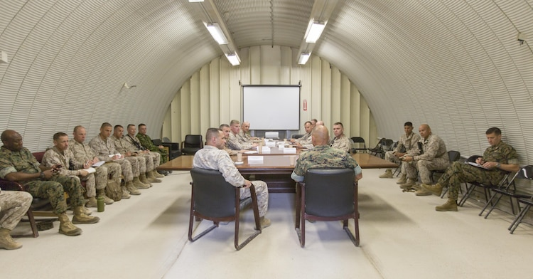 Commandant of the Marine Corps Gen. Robert B. Neller meets with 8th Marine Regiment leadership at Marine Corps Air Ground Combat Center Twentynine Palms, Calif., July 19, 2017. Neller visited Twentynine Palms to speak with Marines about how they should treat each other and the importance of our culture. (U.S. Marine Corps photo by Cpl. Samantha K. Braun)