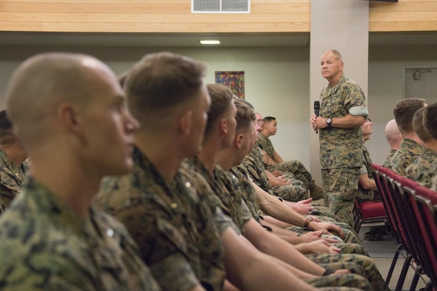 Commandant of the Marine Corps Gen. Robert B. Neller speaks to Marines at Marine Corps Air Ground Combat Center Twentynine Palms, Calif., July 19, 2017. Neller spoke to the Marines about how they should treat each other and the importance of our culture. (U.S. Marine Corps photo by Cpl. Samantha K. Braun)