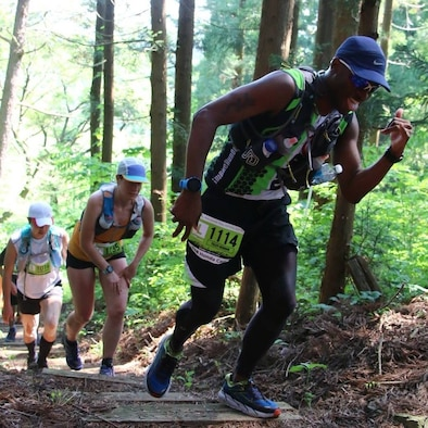 U.S. Air Force Tech. Sgt. Gerard Tilley, the 35th Maintenance Group education and training manager, runs during a marathon at the Nakuidake Trail Festival in Shichinohe, Japan, May 21, 2017. Tilley began his running career in 2008 when he decided to make a healthy change to his life during his time at Luke Air Force Base, Arizona. After arriving at Misawa, he joined the Misawa Flyers Running group, who meet weekly. (Courtesy photo)